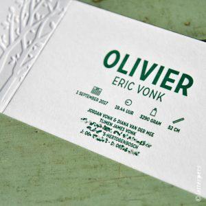 Olivier openvouwbaar met preeg, vosjes