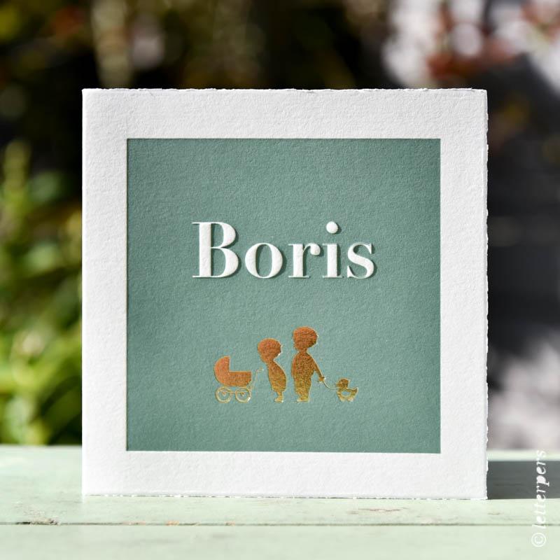 Boris grote broers in folie op de openvouwbare kaart