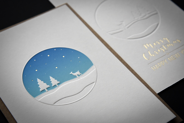 De kerstkaart van 2018 met letterpers, irisdruk, preeg en folie
