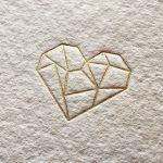 Letterpers folie hart kaart op geschept Khadi papier