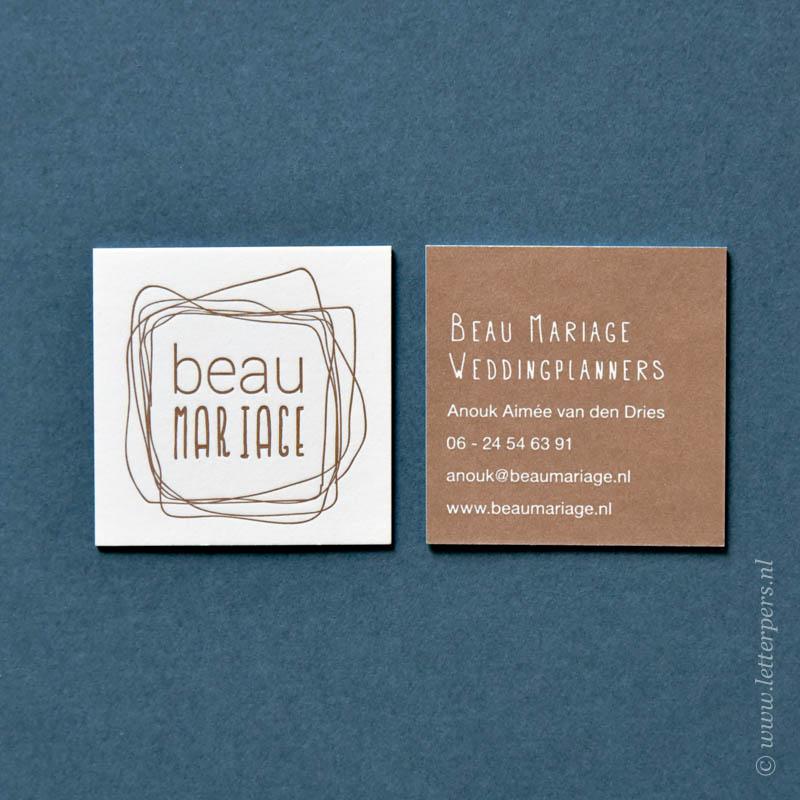vierkant visitekaartje, kleur voorkant en achterkant
