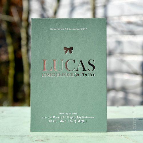 Geboortekaartje Lucas - groen met folie
