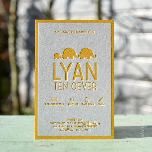 Letterpers olifanten gel kaartje meisje of jongen