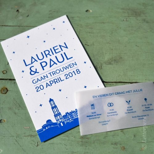 Letterpers letterpress trouwkaart met wikkel Utrecht