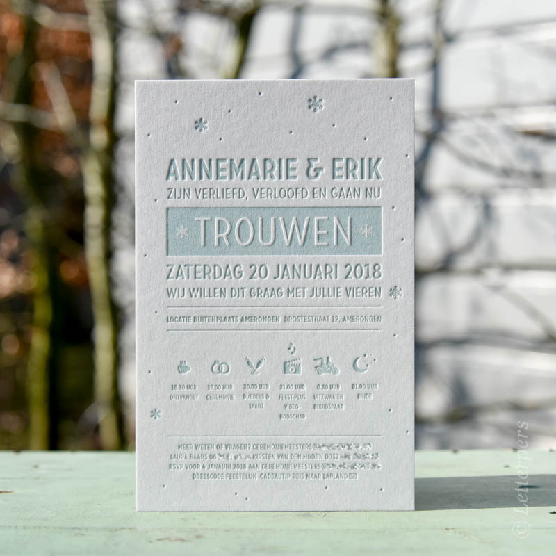 Trouwkaart winter thema diepdruk letterpress