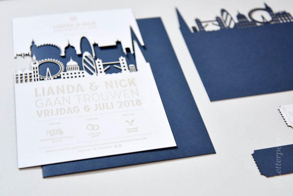 Skyline laserkaart met video - trouwkaarten letterpers