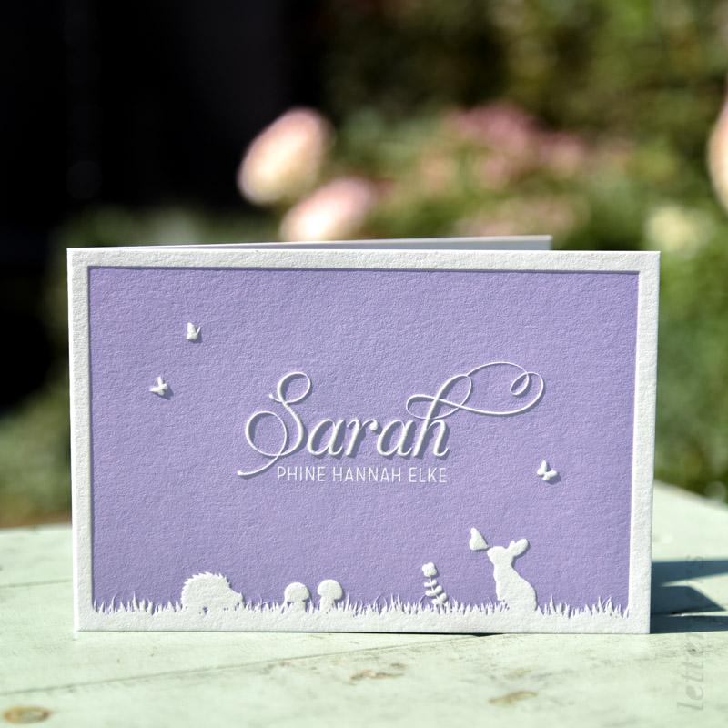 Geboortekaartje Sarah openvouwbaar met preeg