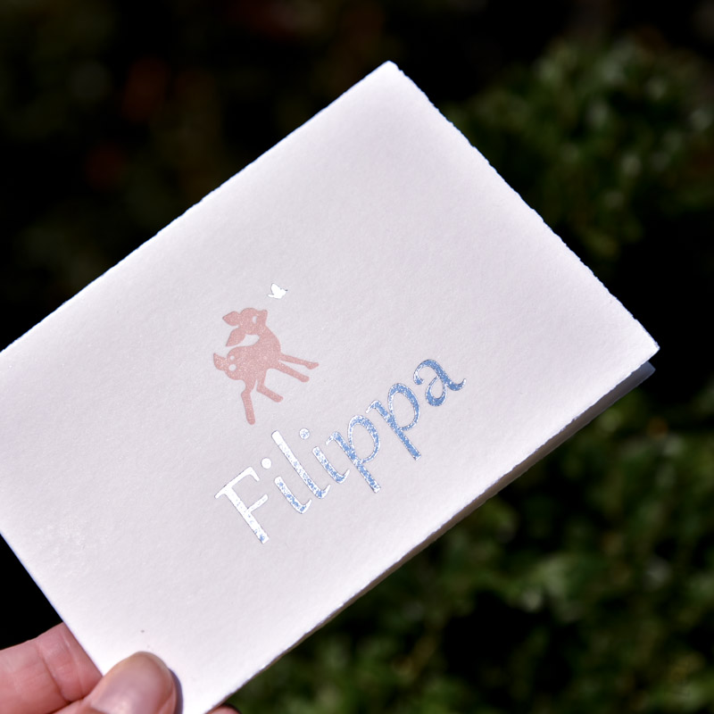 Letterpress met een zilveren folie