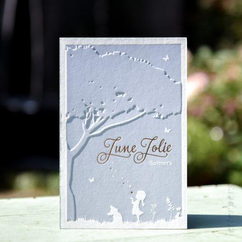Letterpers met folie druk op de voorkant en zijkant met een preeg en een stere blauwgrijs tint