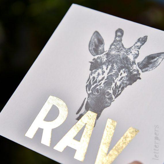 Giraffe in combinatie met hotfoil gouddruk, ook op de snede.