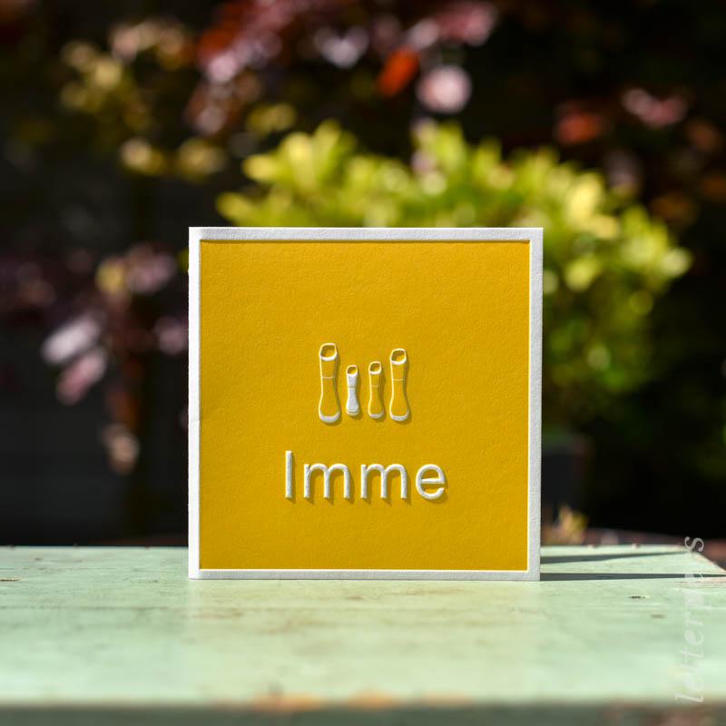 geboortekaartje Imme letterpers letterpress regenlaarsjes