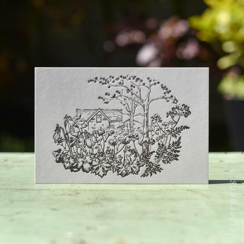 geboortekaartje letterpers letterpress tekening huis