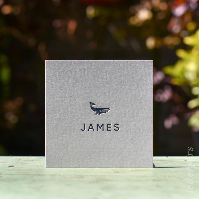 geboortekaartje james letterpers letterpress walvis