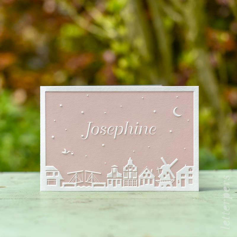 skyline geboortekaartje met ophaalbrug en molen in het roze