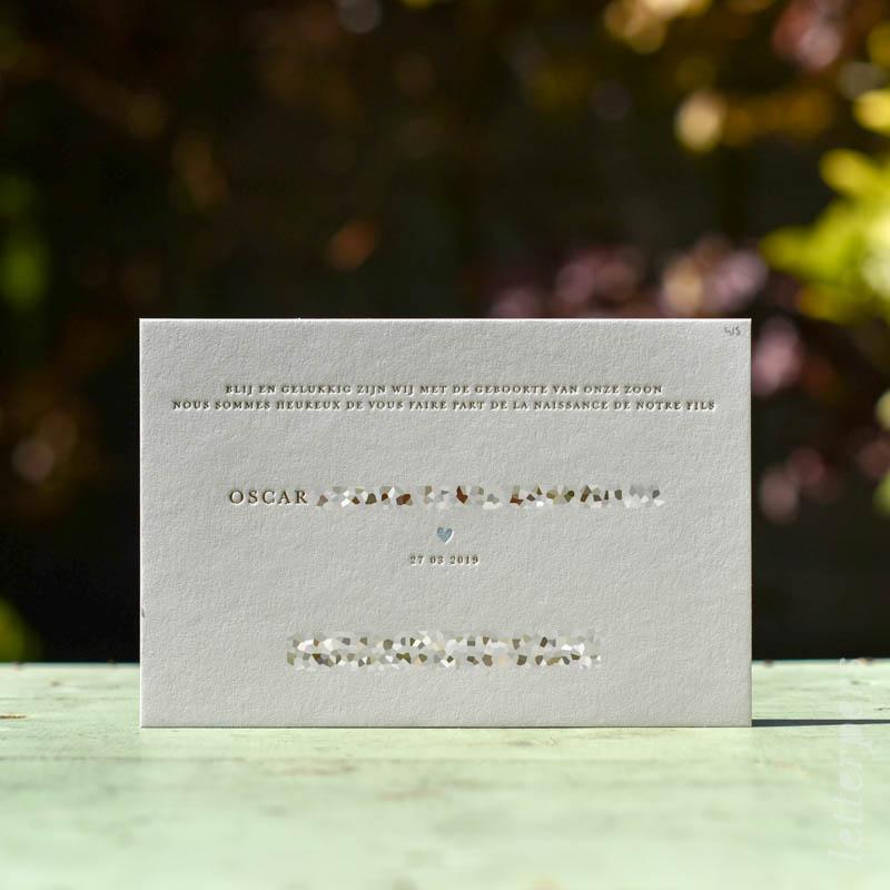 geboortekaartje oscar letterpers letterpress met goudfolie