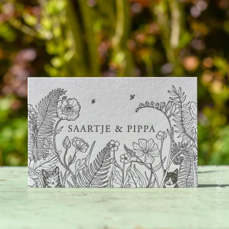 geboortekaartje letterpers letterpress tweeling natuur tekening