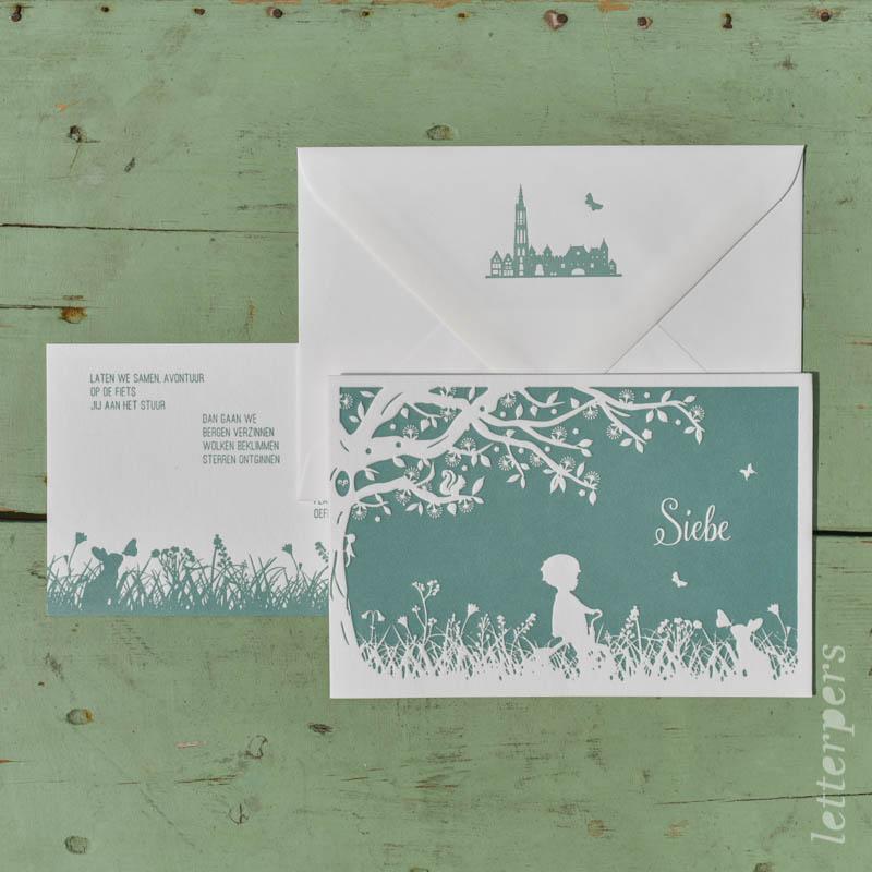 geboortekaartje siebe letterpers letterpress jongen op fiets