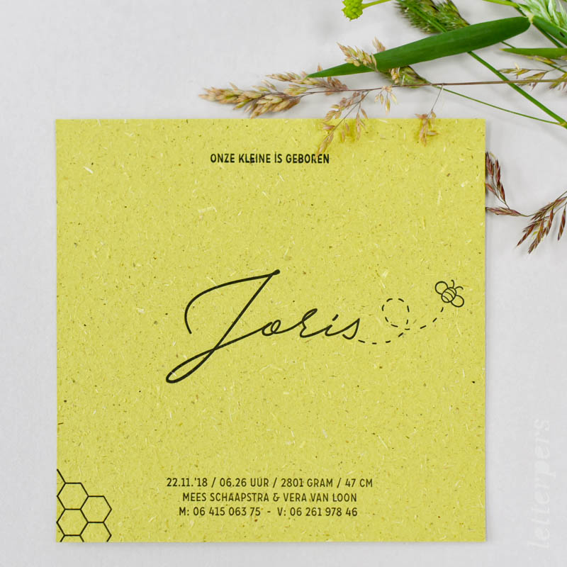 kaartje op graspapier of groeipapier