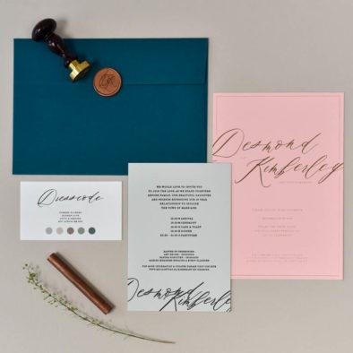 trouwkaart letterpers letterpress roze blauw