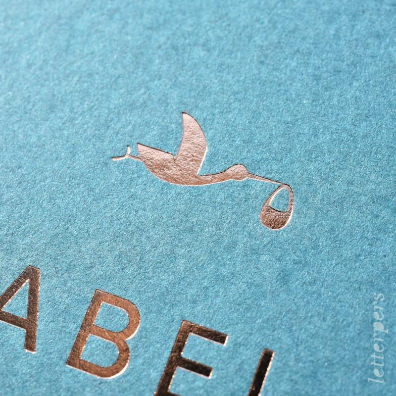 Geboortekaartje Abel, kleur turquoise, dier ooievaar, letterpers letterpress