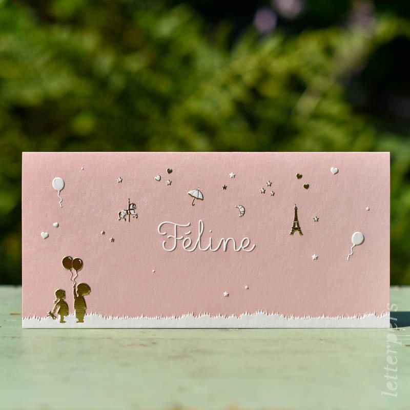 Geboortekaartje Feline, kleur roze, gras broertje zusje ballon hartje sterretje eifeltoren frankrijk paard molen, goudfolie preeg, letterpers letterpress