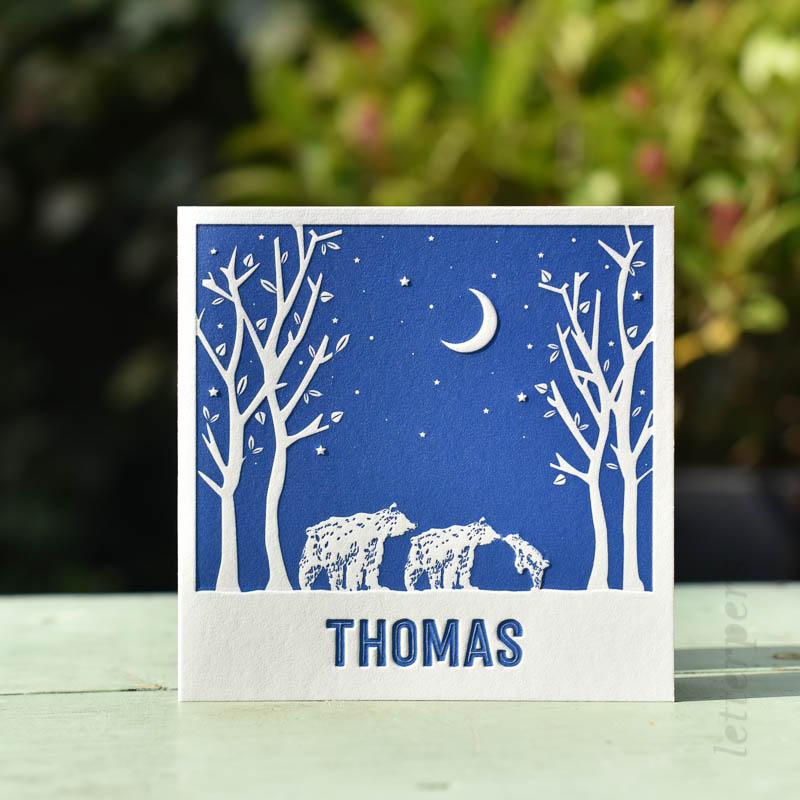 winters geboortekaartje thomas met beertjes
