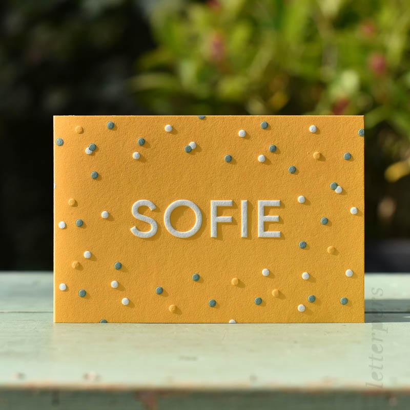 geboortekaartje sofie stipjes confetti letterpress