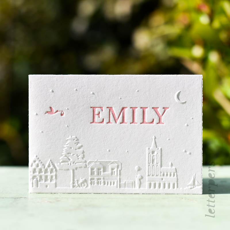 skyline letterpress roze