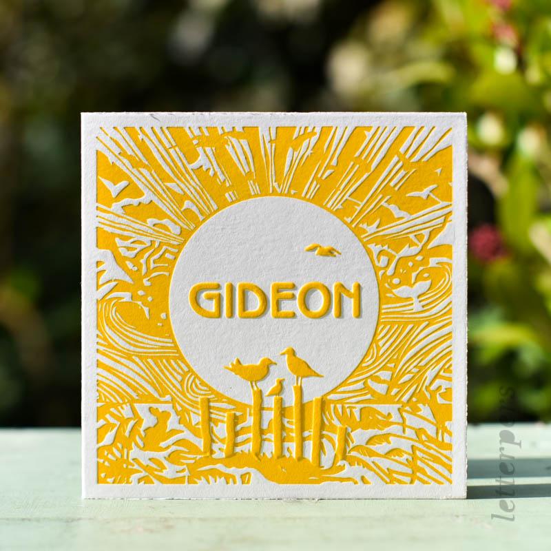 geel geboortekaartje voor zoon gideon