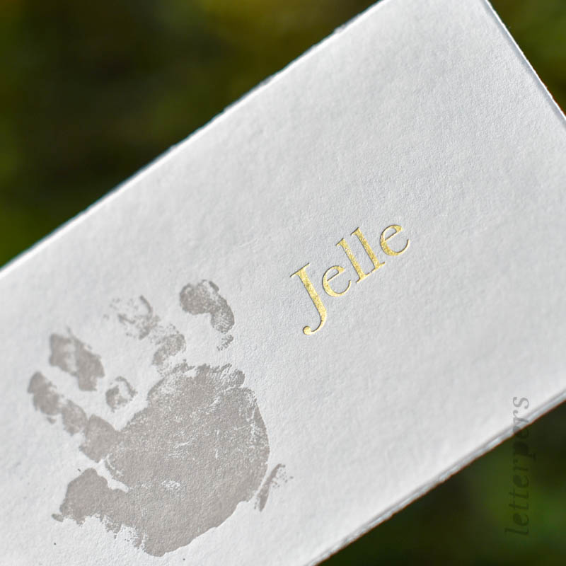 handafdruk geboortekaartje baby met goudfolie