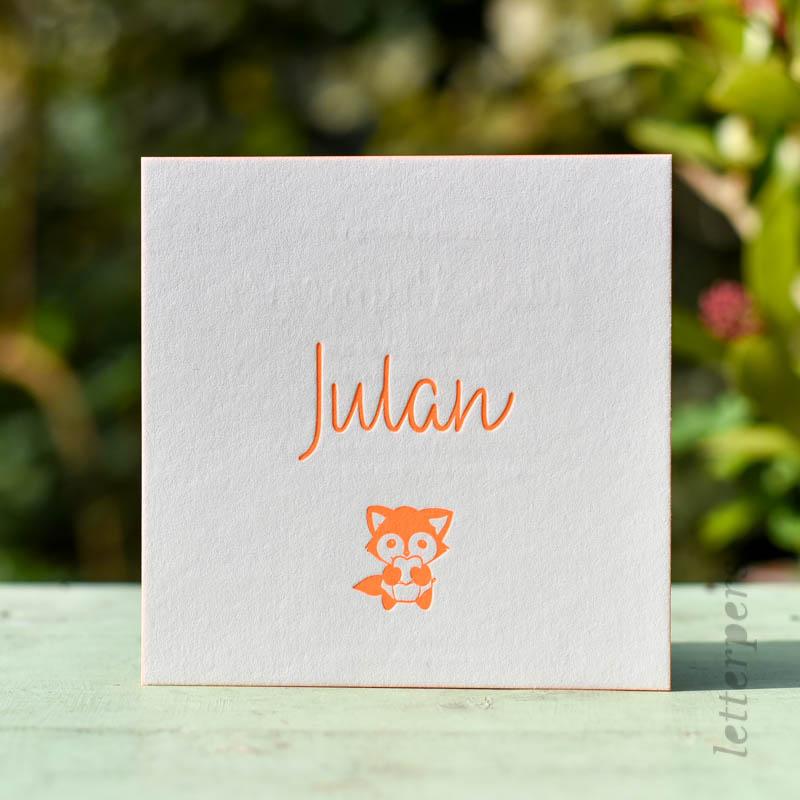 Eigen ontwerp geboortekaartje gedrukt bij Letterpers, vosje in fluor oranje