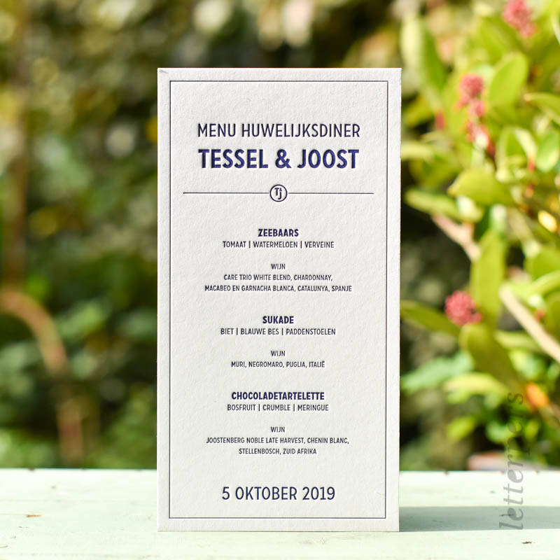 menukaarten reflex blue letterpress.