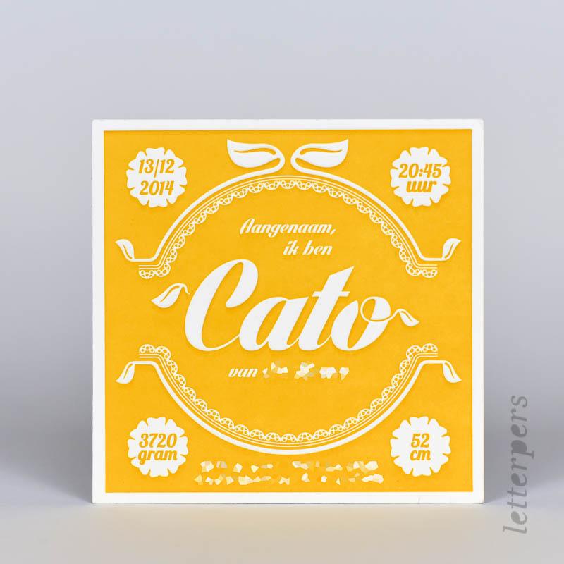 Cato geboortekaartje geel met preeg, eigen ontwerp