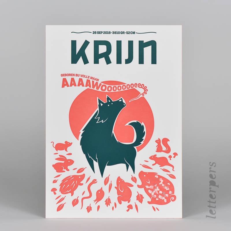 eigen ontwerp geboortekaartje Krijn letterpress