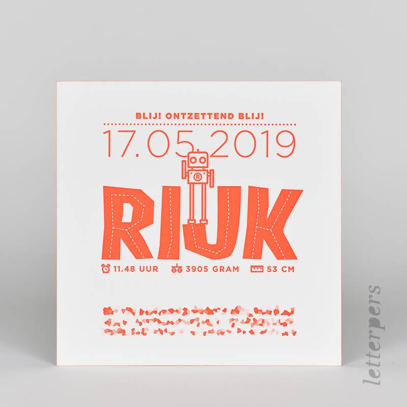 eigen ontwerp geboortekaartje Rijk letterpress