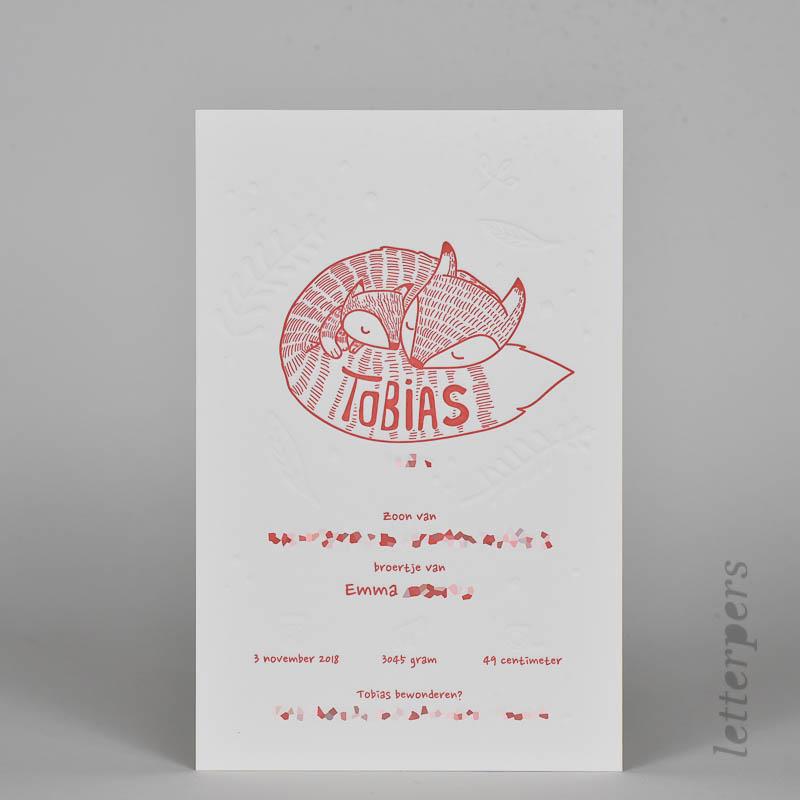 eigen ontwerp geboortekaartje Tobias letterpress