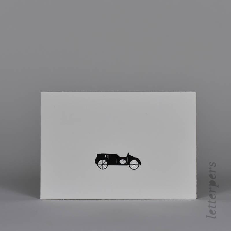 zilveren loopauto wenskaart