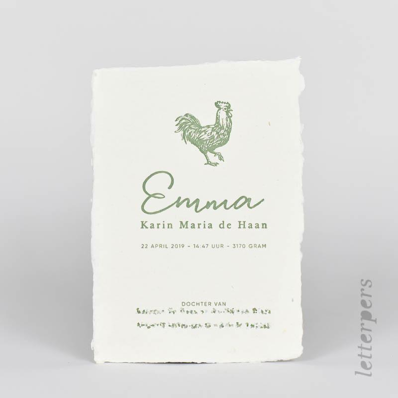 Geboortekaartje groen khadi papier