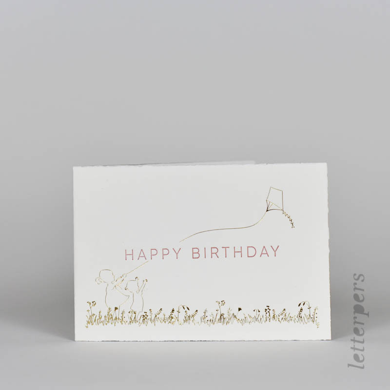 Happy Birthday wenskaart met folie letterpress