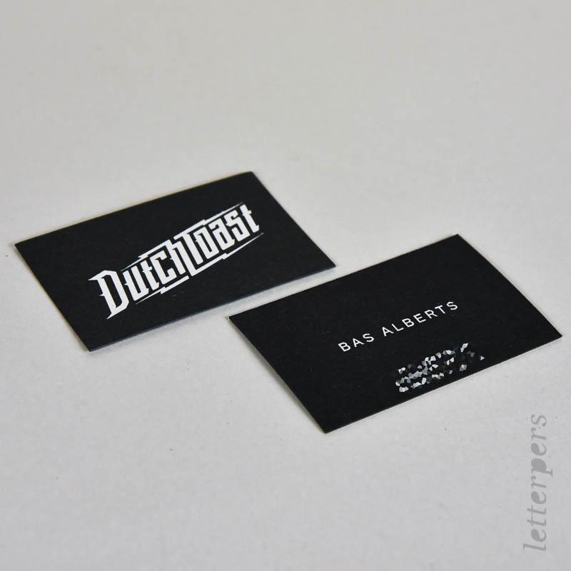zwart papier met zilver folie, business cards