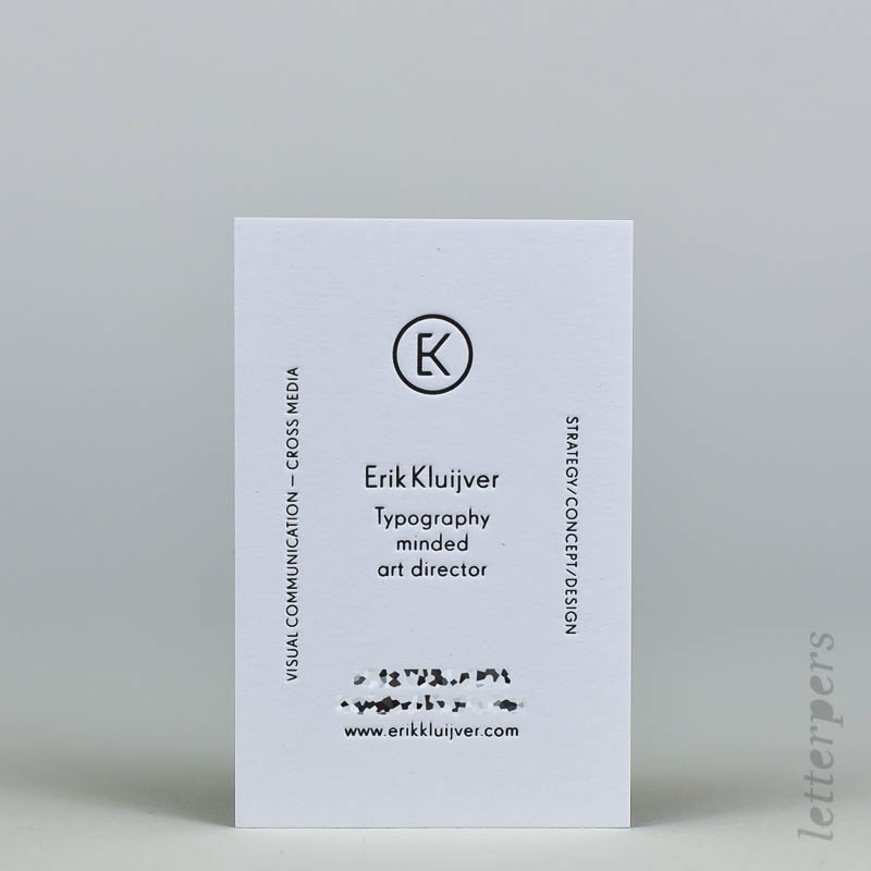 business card with black ink embossing