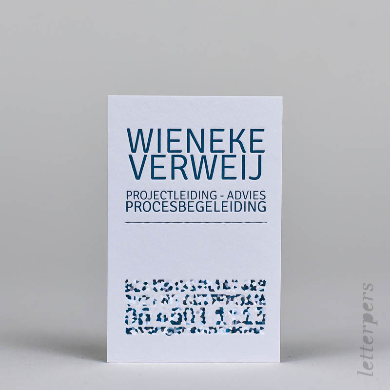 business card with blue/green embossing