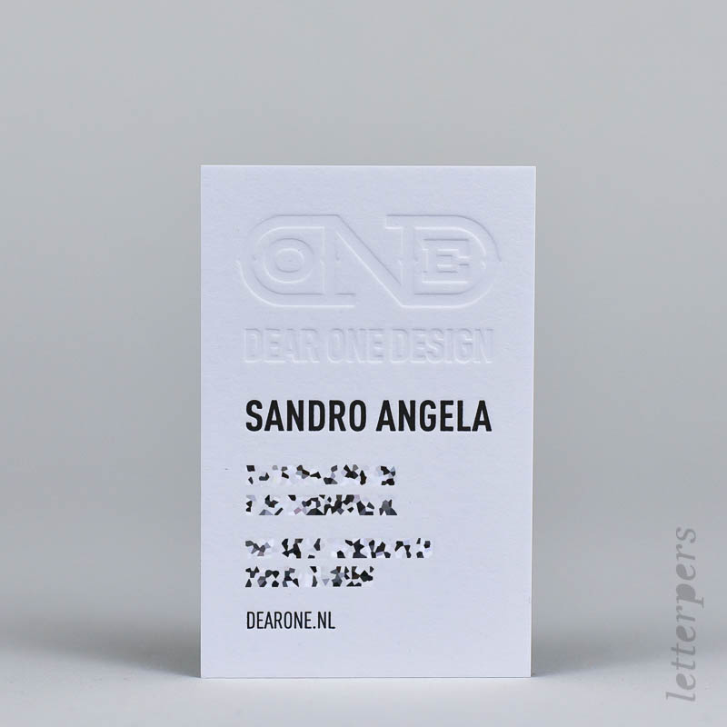 business card with black embossing