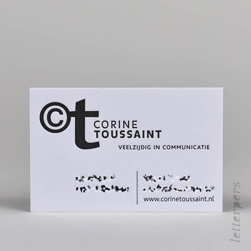 zwarte visitekaartjes met diepdruk