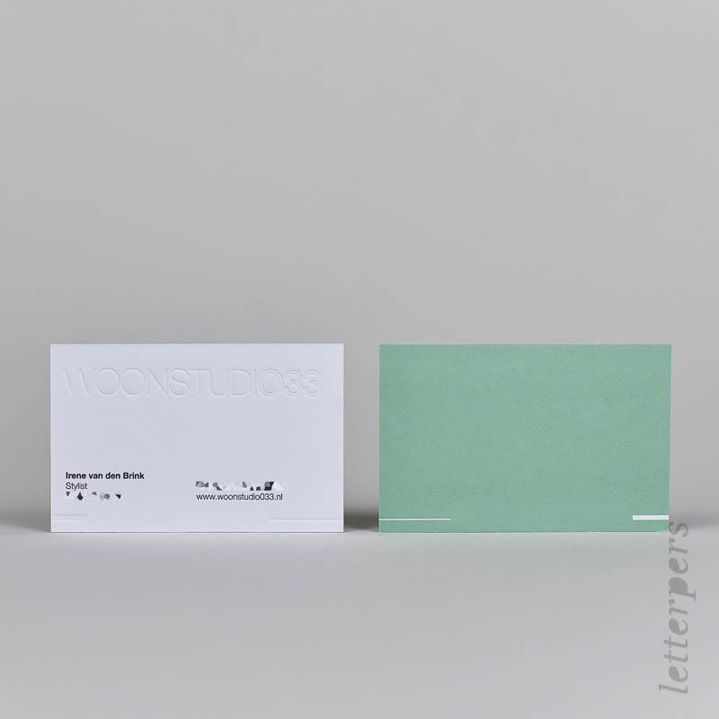 Visitekaart Woonstudio33 gemaakt met een blinddruk