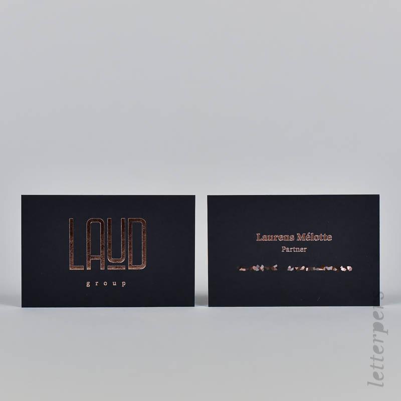 Bronsfolie op zwart papier, luxe visitekaart