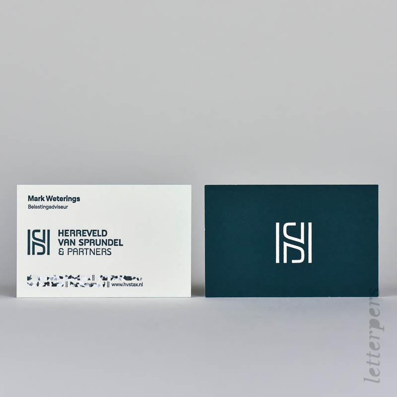 2 kleuren verdiept gedrukt met letterpress