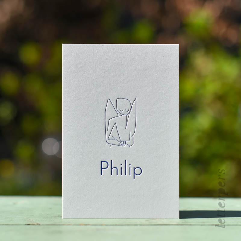 tekening in letterpers gedrukt voor philip