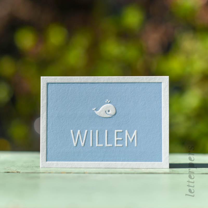 jongenskaartje met dolfijntje letterpress