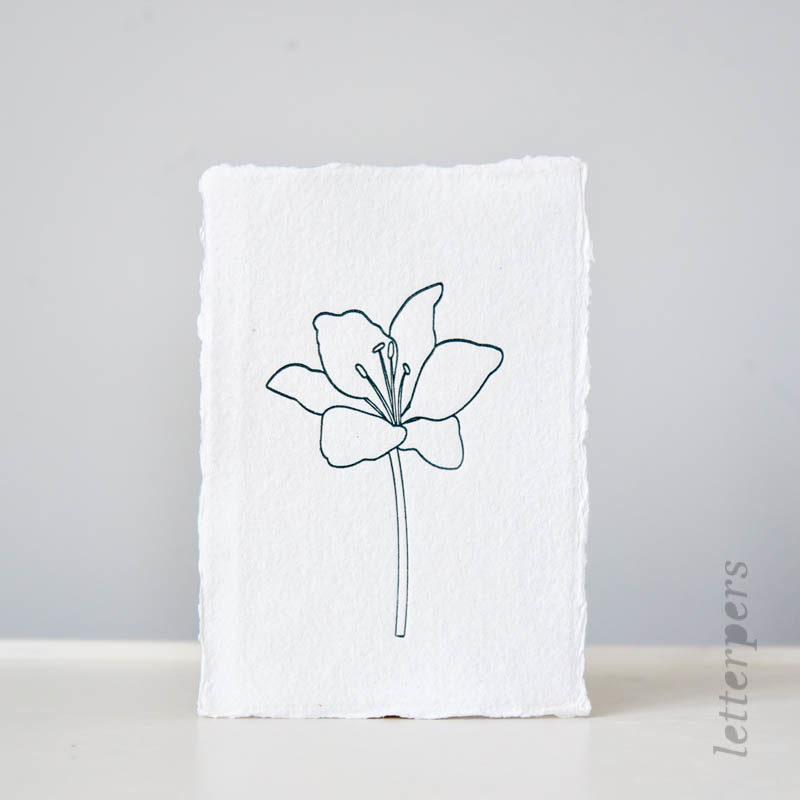 bloemen kaart letterpers